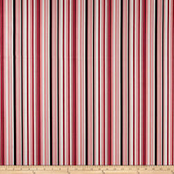 Ansley Home Decor Cotton Duck Stripe Pink/Red/Blk