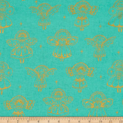 Cotton + Steel Garland Angels Metallic Aqua Fabric