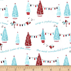 Riley Blake Pixie Noel Trees White Fabric