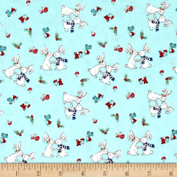 Riley Blake Pixie Noel Snow Bunnies Aqua Fabric