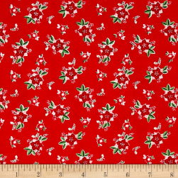 Riley Blake Pixie Noel Floral Red Fabric