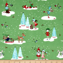 Riley Blake Pixie Noel Main Green Fabric