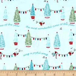 Riley Blake Pixie Noel Trees Aqua Fabric