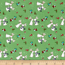 Riley Blake Pixie Noel Snow Bunnies Green Fabric