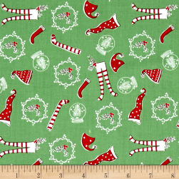 Riley Blake Pixie Noel Hats and Socks Green