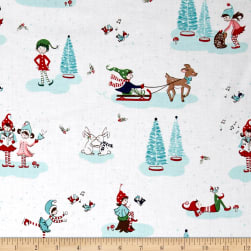 Riley Blake Pixie Noel Main White Fabric