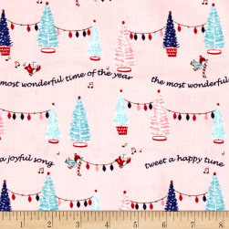 Riley Blake Pixie Noel Trees Pink Fabric