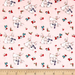 Riley Blake Pixie Noel Snow Bunnies Pink Fabric