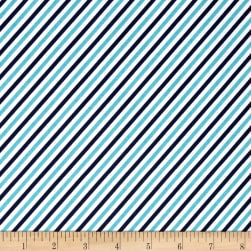 Riley Blake Pixie Noel Stripe Navy Fabric