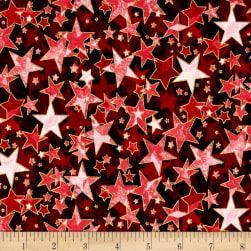Holiday Accents Classics 2016 Starburst Red Metallic Fabric