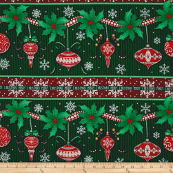 Christmas Wishes Festive Festoon Stripe Evergreen Fabric