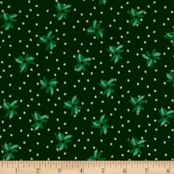 Christmas Wishes Bits Of Holly Evergreen Fabric