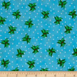 Christmas Wishes Bits Of Holly Morning Sky Fabric