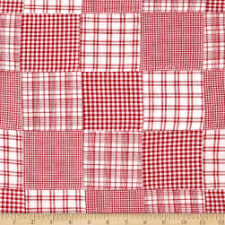 Madras Patchwork Plaid Red White