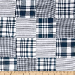 Madras Patchwork Plaid Navy White Fabric