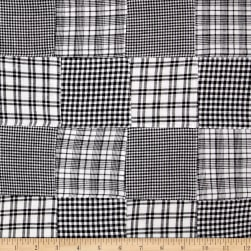 Madras Patchwork Plaid Black White Fabric