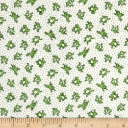 Storybook Flannel Leaping Frogs Green Fabric
