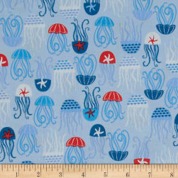 Come Dive with Me Octopi Light Blue Fabric