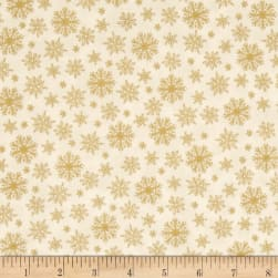 Grace Metallic Snowflakes Gold Fabric