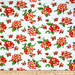 Dixie Large Floral White Fabric
