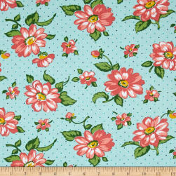 Dixie Large Floral Aqua Fabric