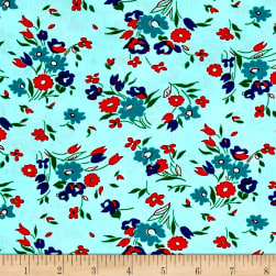 Dixie Small Floral Aqua Fabric