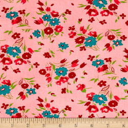 Dixie Small Floral Coral Fabric