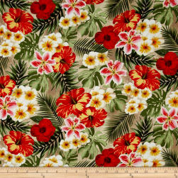 Rainforest Tropical Flowers Tan Fabric