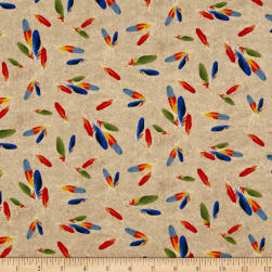 Rainforest Feathers Tan Fabric