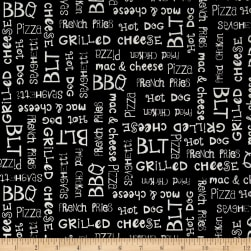 Sew Hope Full Food Words Black Fabric