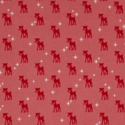 Riley Blake Cozy Christmas Flannel Reindeer Pink