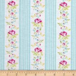 Tanya Whelan Zoey's Garden Butterfly Ticking Blue Fabric