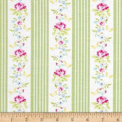 Tanya Whelan Zoey's Garden Butterfly Ticking Green Fabric