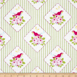 Tanya Whelan Zoey's Garden Framed Birdies Green Fabric