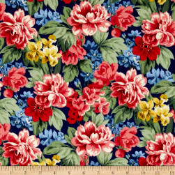 Newport Flannel Large Floral Navy Fabric