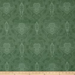 Newport Flannel Mono Paisley Green Fabric