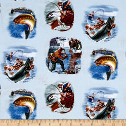 Sports Afield Fishing Scenic Blue Fabric