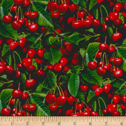Berry Good Cherries Green Fabric