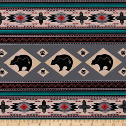 Tucson Bear Stripe Gray Fabric