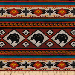 Tucson Bear Stripe Terracotta Fabric
