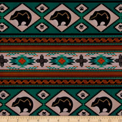 Tucson Bear Stripe Turquoise Fabric
