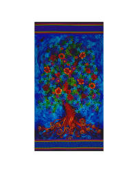 Timeless Treasures Paradise 24 In. Tree Panel Blue Fabric