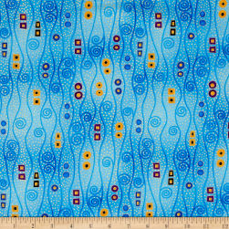 Timeless Treasures Metallic Intrigue Long Scrolls Blue Fabric
