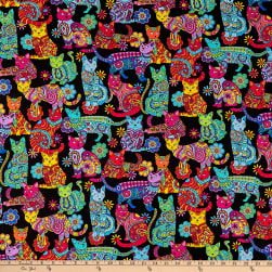 Timeless Treasures Color Me Cat Coloring Multi Fabric