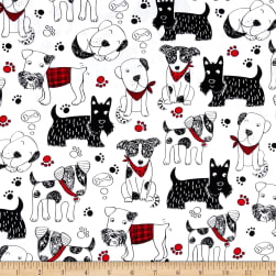 Timeless Treasures Scribble Dogs White