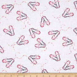 Timeless Treasures Ballet Slippers White Fabric