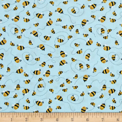 Woodland Cuties Bees Blue Fabric
