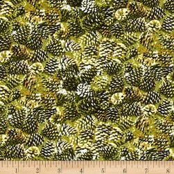 Moose Lodge Pinecones Green Fabric