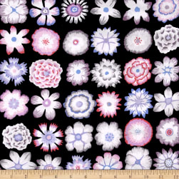 Kaffe Fassett Button Flowers Black Fabric