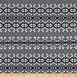 Bohemian Jersey Knit Black White Fabric